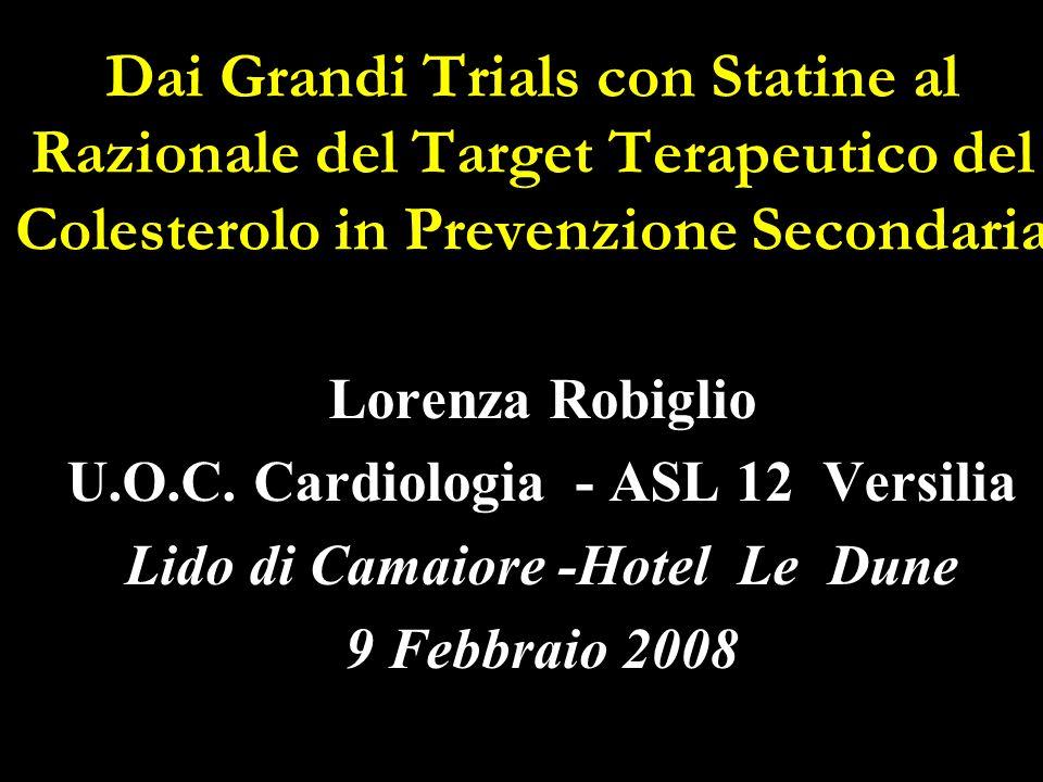 Dai Grandi Trials con Statine al Razionale del Target Terapeutico del Colesterolo in Prevenzione Secondaria Lorenza Robiglio U.O.C. Cardiologia - ASL