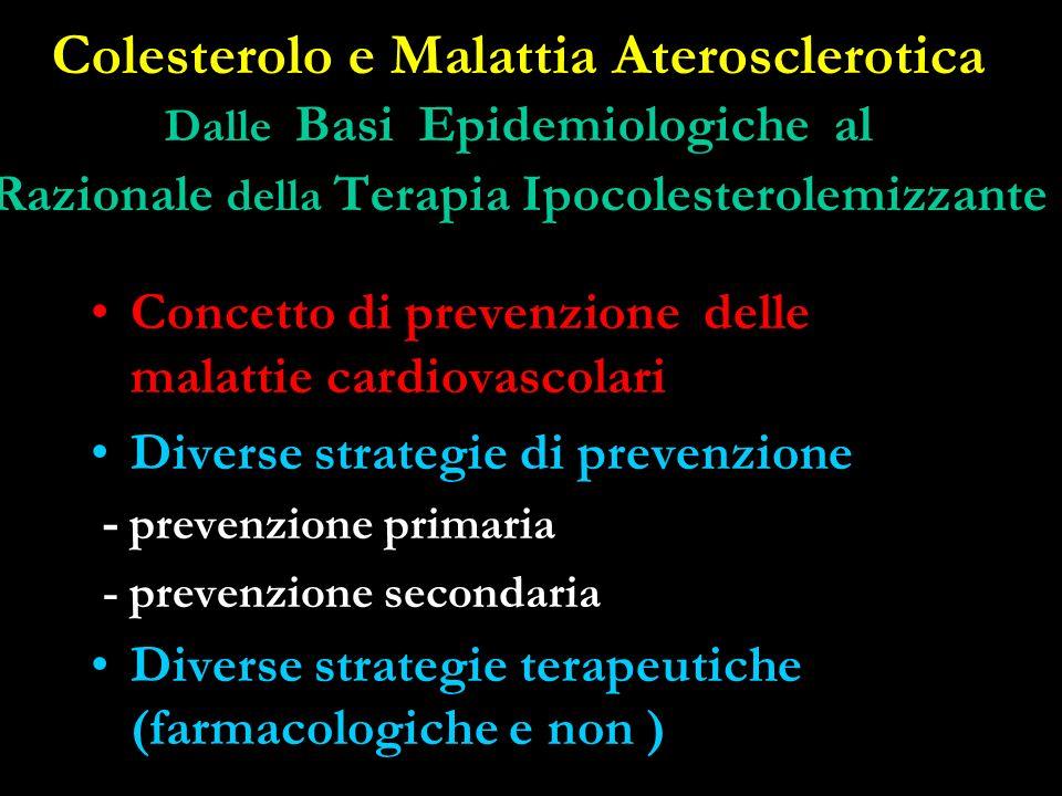 Colesterolo e Malattia Aterosclerotica Dalle Basi Epidemiologiche al Razionale della Terapia Ipocolesterolemizzante Concetto di prevenzione delle mala