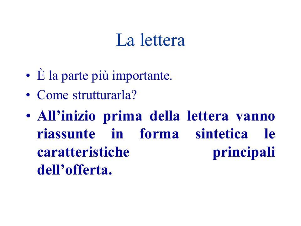 La lettera È la parte più importante. Come strutturarla? Allinizio prima della lettera vanno riassunte in forma sintetica le caratteristiche principal