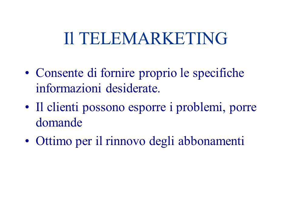 Il TELEMARKETING Consente di fornire proprio le specifiche informazioni desiderate. Il clienti possono esporre i problemi, porre domande Ottimo per il