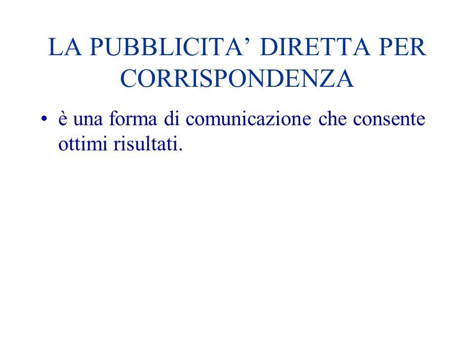 LA PUBBLICITA DIRETTA PER CORRISPONDENZA è una forma di comunicazione che consente ottimi risultati.