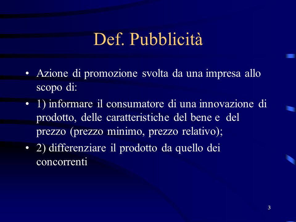 3 Def. Pubblicità Azione di promozione svolta da una impresa allo scopo di: 1) informare il consumatore di una innovazione di prodotto, delle caratter