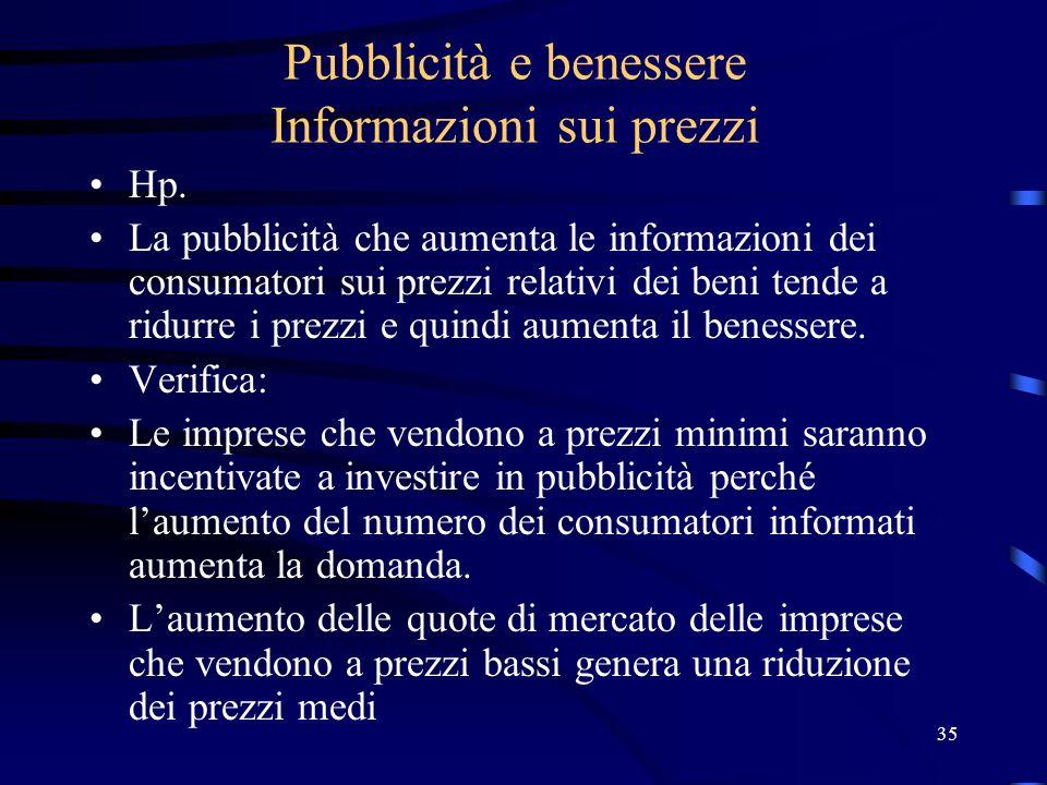 35 Pubblicità e benessere Informazioni sui prezzi Hp. La pubblicità che aumenta le informazioni dei consumatori sui prezzi relativi dei beni tende a r