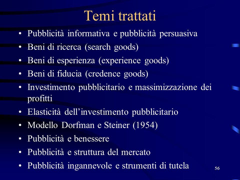 56 Temi trattati Pubblicità informativa e pubblicità persuasiva Beni di ricerca (search goods) Beni di esperienza (experience goods) Beni di fiducia (