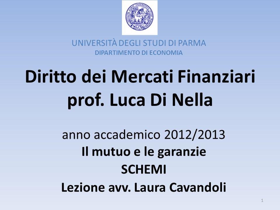 Diritto dei Mercati Finanziari prof. Luca Di Nella anno accademico 2012/2013 Il mutuo e le garanzie SCHEMI Lezione avv. Laura Cavandoli UNIVERSITÀ DEG