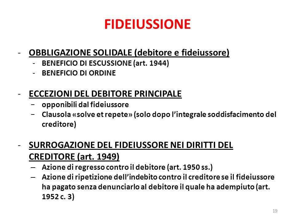 FIDEIUSSIONE -OBBLIGAZIONE SOLIDALE (debitore e fideiussore) -BENEFICIO DI ESCUSSIONE (art. 1944) -BENEFICIO DI ORDINE -ECCEZIONI DEL DEBITORE PRINCIP