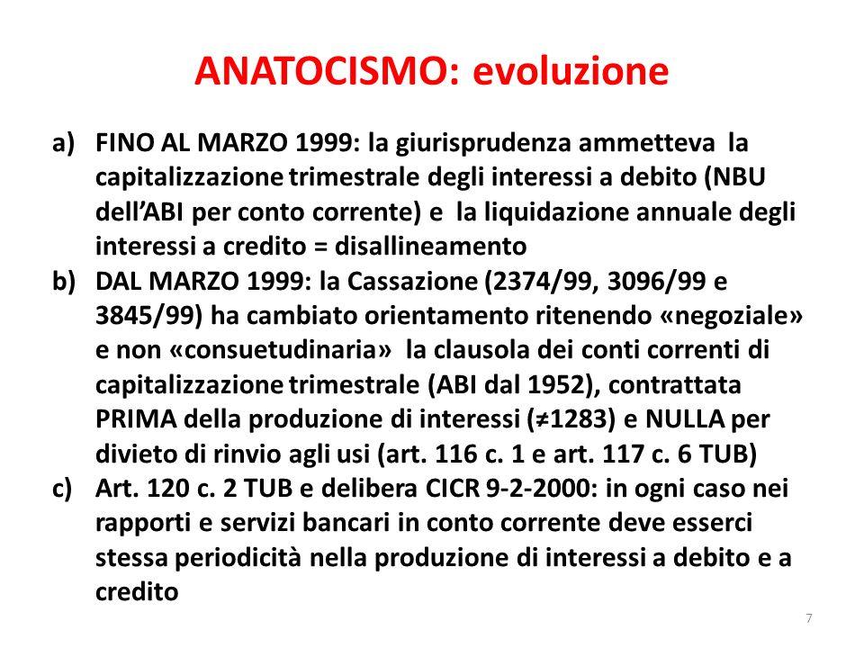 ANATOCISMO: evoluzione a)FINO AL MARZO 1999: la giurisprudenza ammetteva la capitalizzazione trimestrale degli interessi a debito (NBU dellABI per con