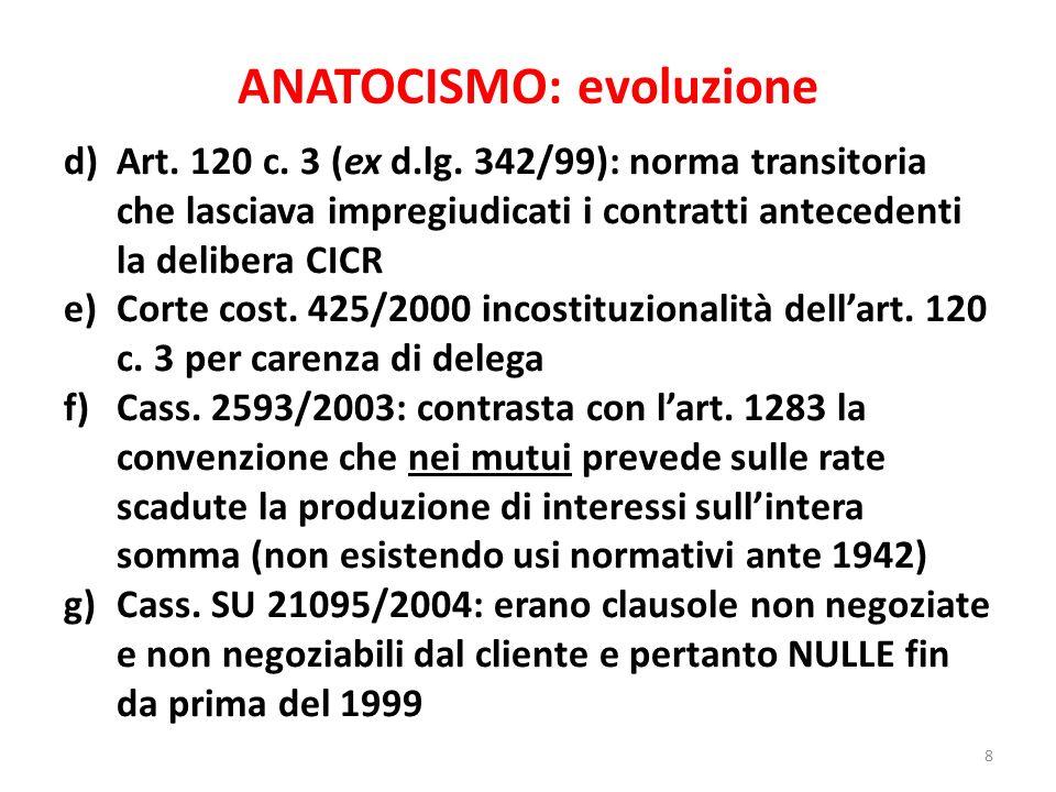 ANATOCISMO: evoluzione d)Art. 120 c. 3 (ex d.lg. 342/99): norma transitoria che lasciava impregiudicati i contratti antecedenti la delibera CICR e)Cor