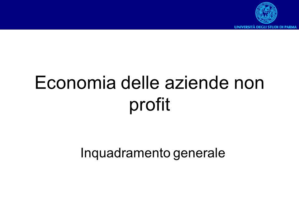 Economia delle aziende non profit Inquadramento generale