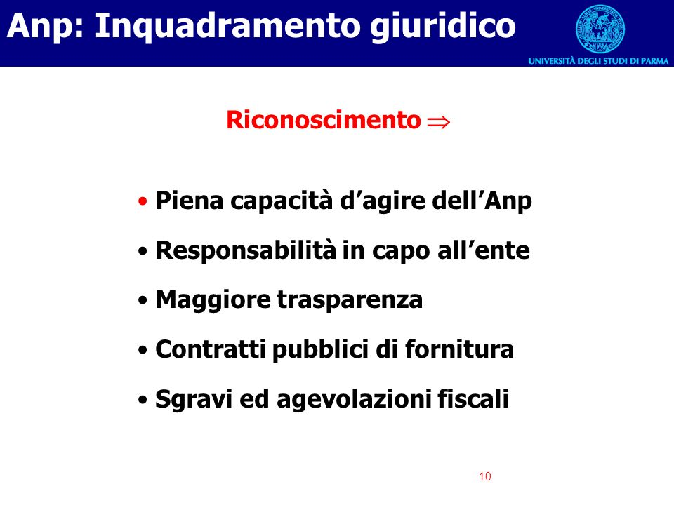10 Anp: Inquadramento giuridico Piena capacità dagire dellAnp Responsabilità in capo allente Maggiore trasparenza Contratti pubblici di fornitura Sgra