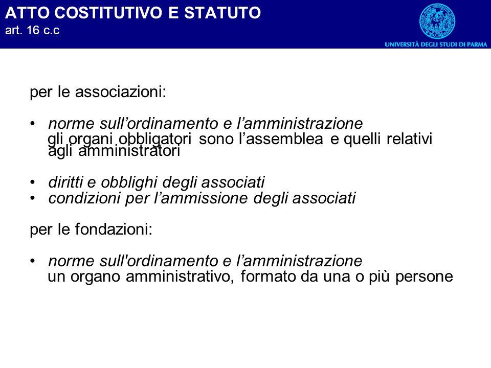 ATTO COSTITUTIVO E STATUTO art. 16 c.c per le associazioni: norme sullordinamento e lamministrazione gli organi obbligatori sono lassemblea e quelli r