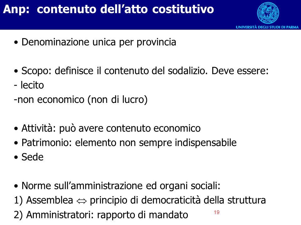 19 Anp: contenuto dellatto costitutivo Denominazione unica per provincia Scopo: definisce il contenuto del sodalizio. Deve essere: - lecito -non econo