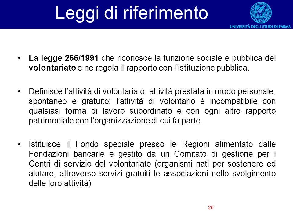 26 Leggi di riferimento La legge 266/1991 che riconosce la funzione sociale e pubblica del volontariato e ne regola il rapporto con listituzione pubbl
