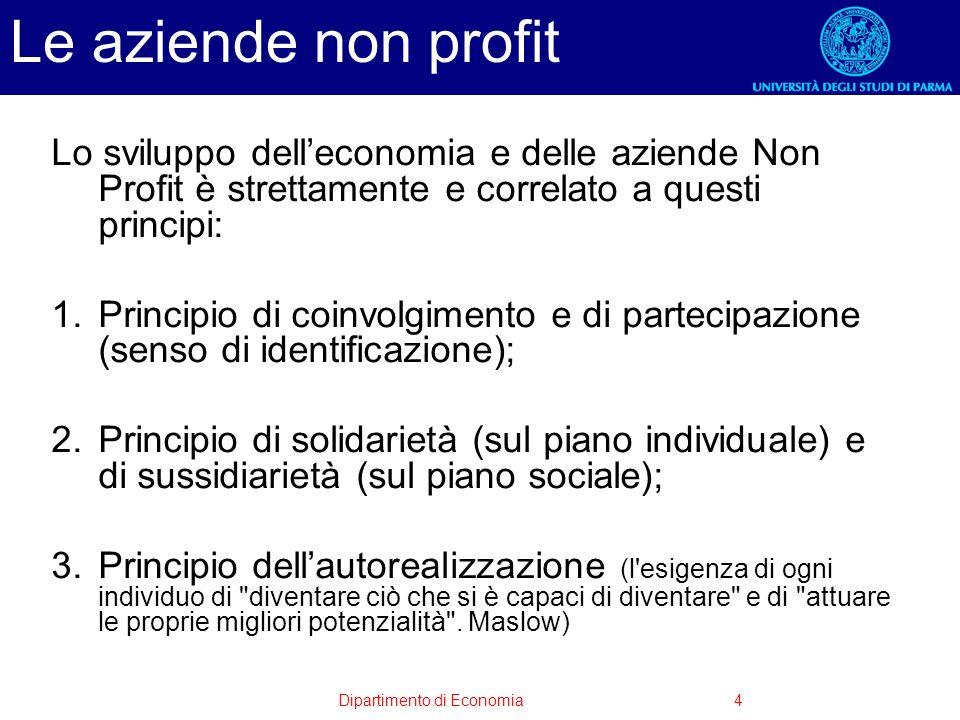 Dipartimento di Economia4 Le aziende non profit Lo sviluppo delleconomia e delle aziende Non Profit è strettamente e correlato a questi principi: 1.Pr
