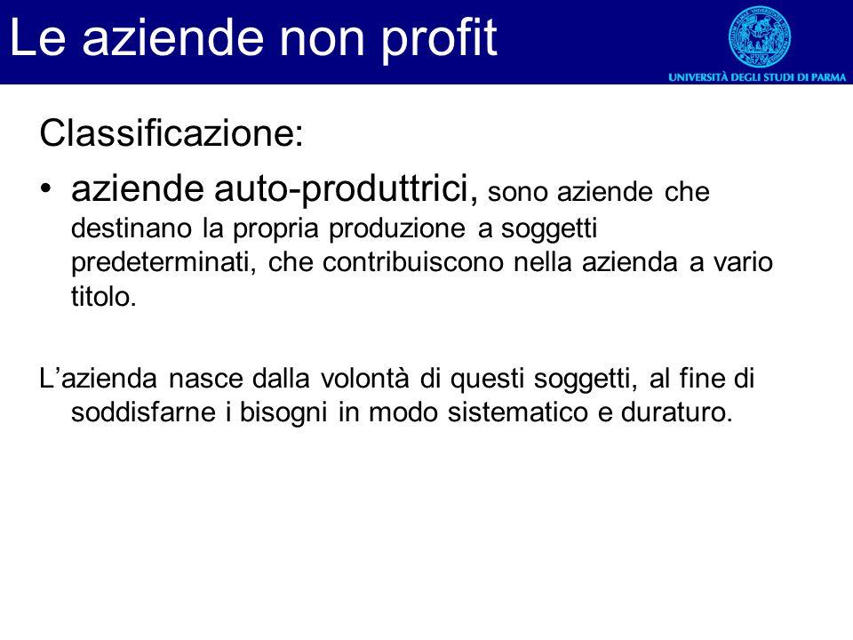 Classificazione: aziende auto-produttrici, sono aziende che destinano la propria produzione a soggetti predeterminati, che contribuiscono nella aziend
