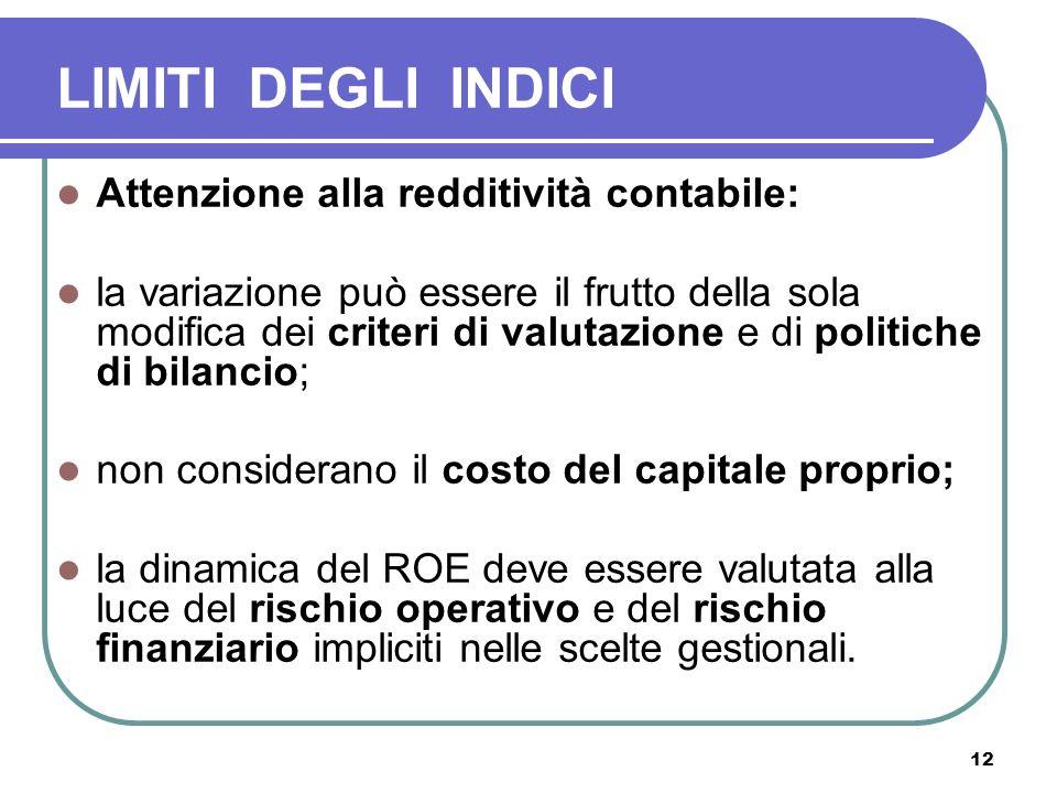 12 LIMITI DEGLI INDICI Attenzione alla redditività contabile: la variazione può essere il frutto della sola modifica dei criteri di valutazione e di p