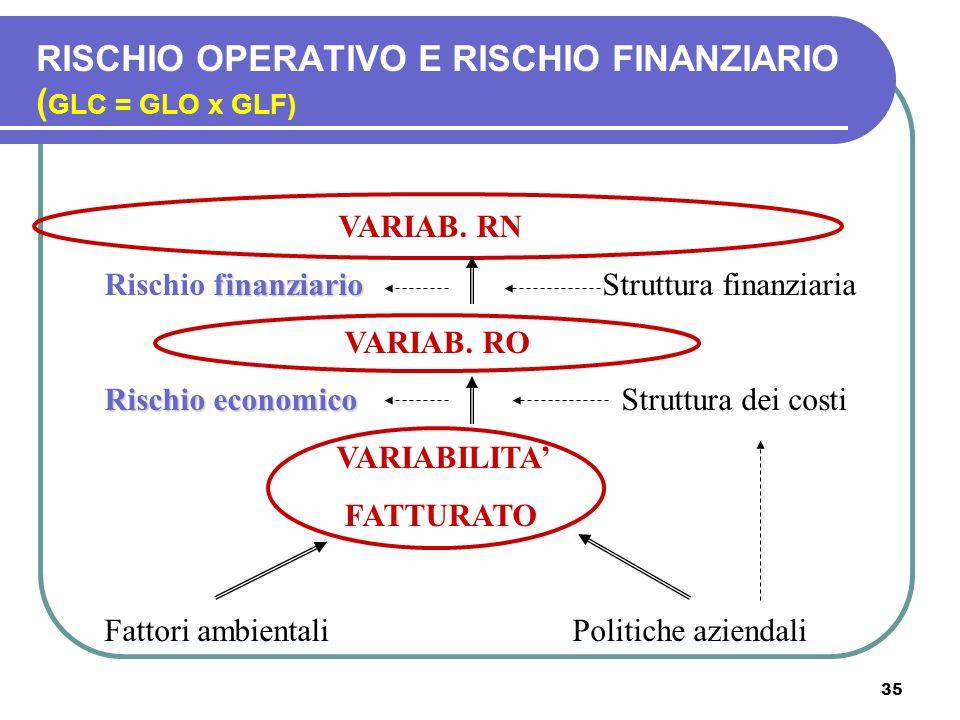 35 VARIAB. RN finanziario Rischio finanziario Struttura finanziaria VARIAB. RO Rischioeconomico Rischio economico Struttura dei costi VARIABILITA FATT