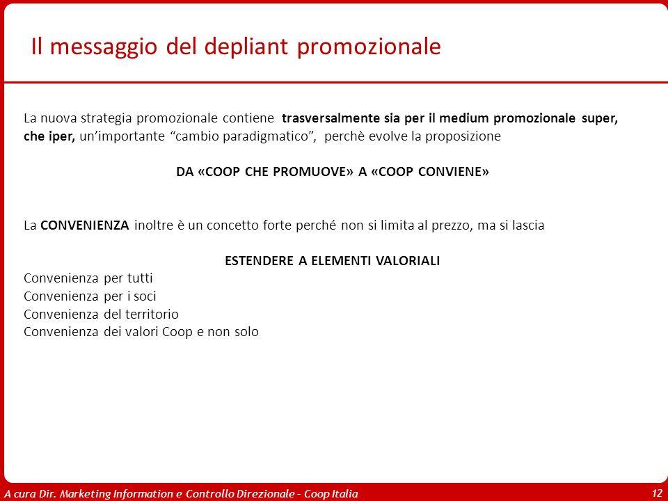 A cura Dir. Marketing Information e Controllo Direzionale – Coop Italia 12 Il messaggio del depliant promozionale La nuova strategia promozionale cont