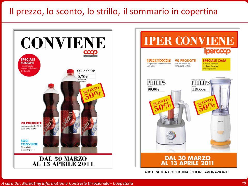 A cura Dir. Marketing Information e Controllo Direzionale – Coop Italia 15 Il prezzo, lo sconto, lo strillo, il sommario in copertina NB: GRAFICA COPE