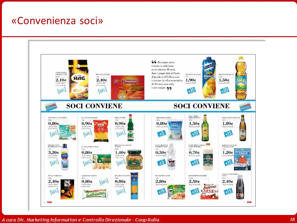A cura Dir. Marketing Information e Controllo Direzionale – Coop Italia 18 «Convenienza soci»