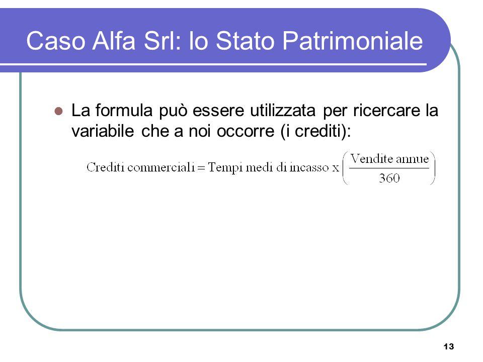 13 Caso Alfa Srl: lo Stato Patrimoniale La formula può essere utilizzata per ricercare la variabile che a noi occorre (i crediti):