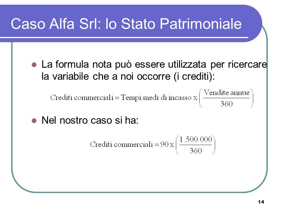 14 Caso Alfa Srl: lo Stato Patrimoniale La formula nota può essere utilizzata per ricercare la variabile che a noi occorre (i crediti): Nel nostro caso si ha: