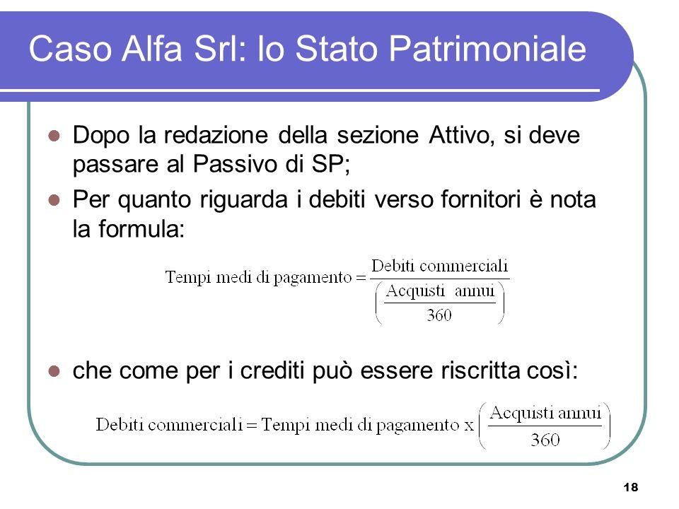18 Caso Alfa Srl: lo Stato Patrimoniale Dopo la redazione della sezione Attivo, si deve passare al Passivo di SP; Per quanto riguarda i debiti verso fornitori è nota la formula: che come per i crediti può essere riscritta così: