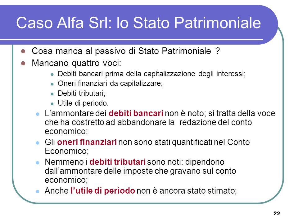 22 Caso Alfa Srl: lo Stato Patrimoniale Cosa manca al passivo di Stato Patrimoniale .