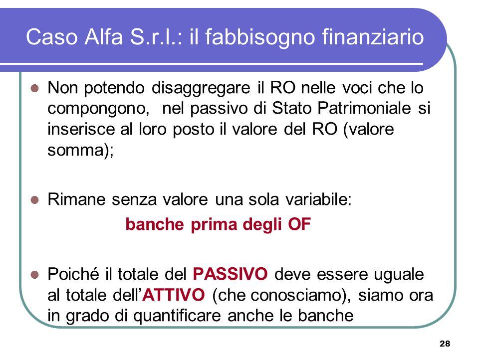 28 Caso Alfa S.r.l.: il fabbisogno finanziario Non potendo disaggregare il RO nelle voci che lo compongono, nel passivo di Stato Patrimoniale si inserisce al loro posto il valore del RO (valore somma); Rimane senza valore una sola variabile: banche prima degli OF Poiché il totale del PASSIVO deve essere uguale al totale dellATTIVO (che conosciamo), siamo ora in grado di quantificare anche le banche