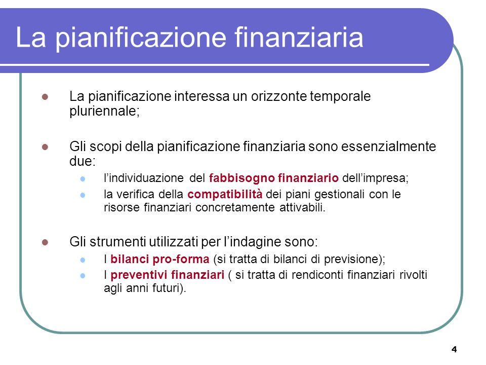 4 La pianificazione finanziaria La pianificazione interessa un orizzonte temporale pluriennale; Gli scopi della pianificazione finanziaria sono essenzialmente due: lindividuazione del fabbisogno finanziario dellimpresa; la verifica della compatibilità dei piani gestionali con le risorse finanziari concretamente attivabili.