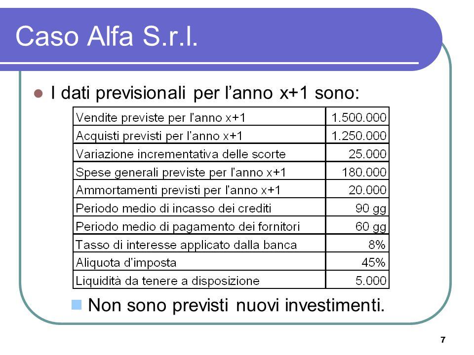 7 Caso Alfa S.r.l. I dati previsionali per lanno x+1 sono: Non sono previsti nuovi investimenti.
