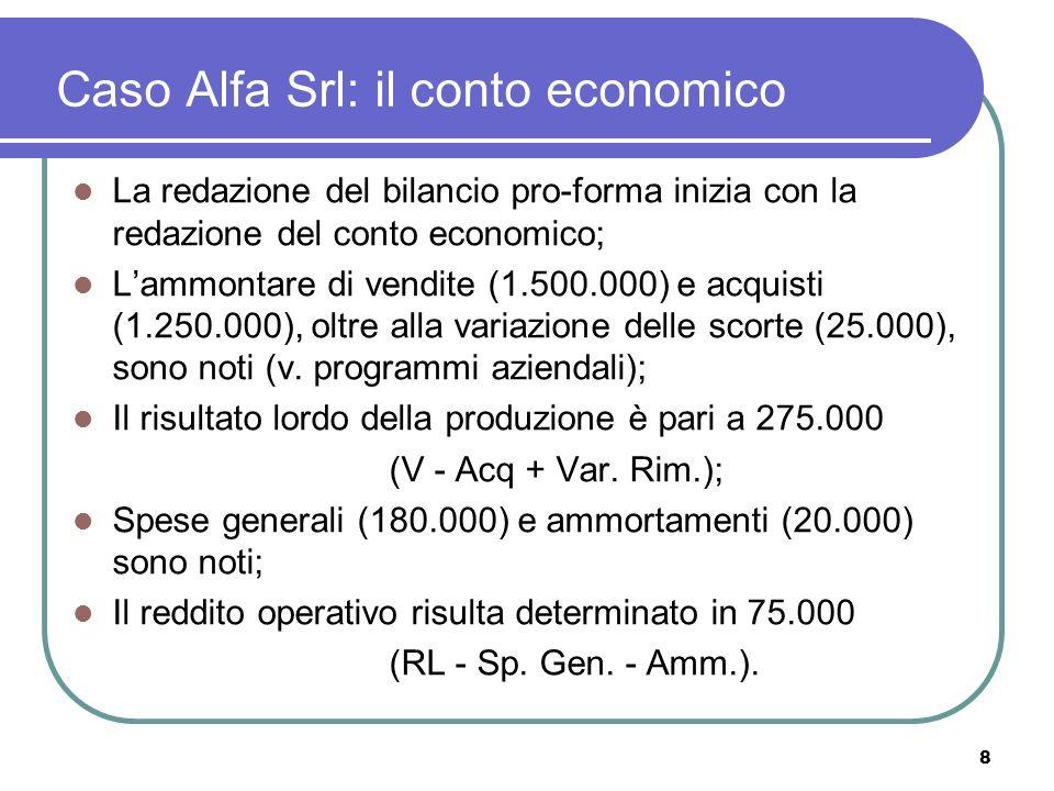 8 Caso Alfa Srl: il conto economico La redazione del bilancio pro-forma inizia con la redazione del conto economico; Lammontare di vendite (1.500.000) e acquisti (1.250.000), oltre alla variazione delle scorte (25.000), sono noti (v.
