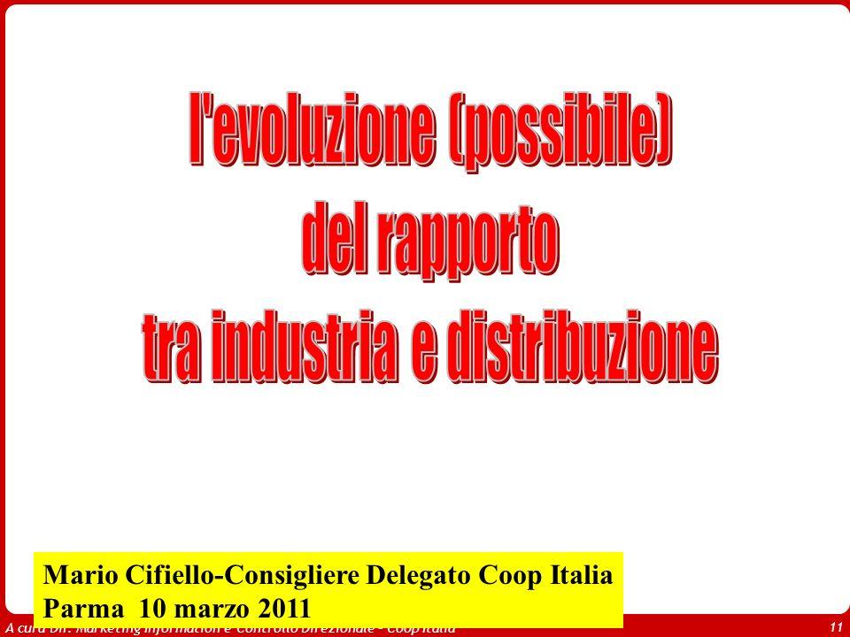 A cura Dir. Marketing Information e Controllo Direzionale – Coop Italia 11 Mario Cifiello-Consigliere Delegato Coop Italia Parma 10 marzo 2011