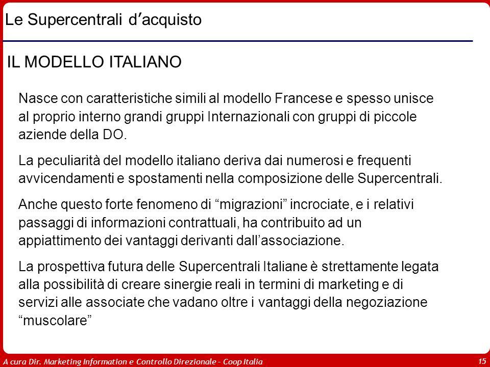 A cura Dir. Marketing Information e Controllo Direzionale – Coop Italia 15 Le Supercentrali d acquisto IL MODELLO ITALIANO Nasce con caratteristiche s
