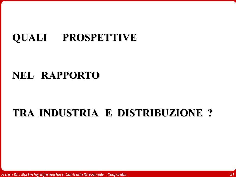 A cura Dir. Marketing Information e Controllo Direzionale – Coop Italia 21 QUALI PROSPETTIVE NEL RAPPORTO TRA INDUSTRIA E DISTRIBUZIONE ?