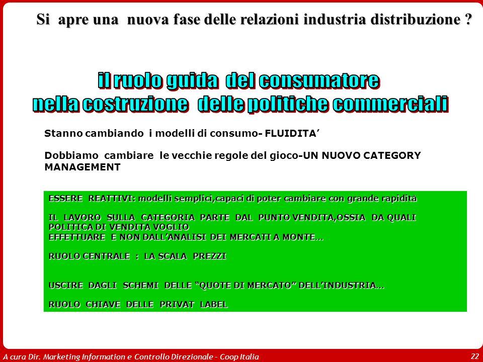 A cura Dir. Marketing Information e Controllo Direzionale – Coop Italia 22 Stanno cambiando i modelli di consumo- FLUIDITA Dobbiamo cambiare le vecchi