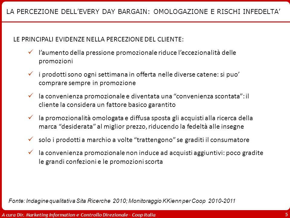 A cura Dir. Marketing Information e Controllo Direzionale – Coop Italia 5 LA PERCEZIONE DELLEVERY DAY BARGAIN: OMOLOGAZIONE E RISCHI INFEDELTA LE PRIN