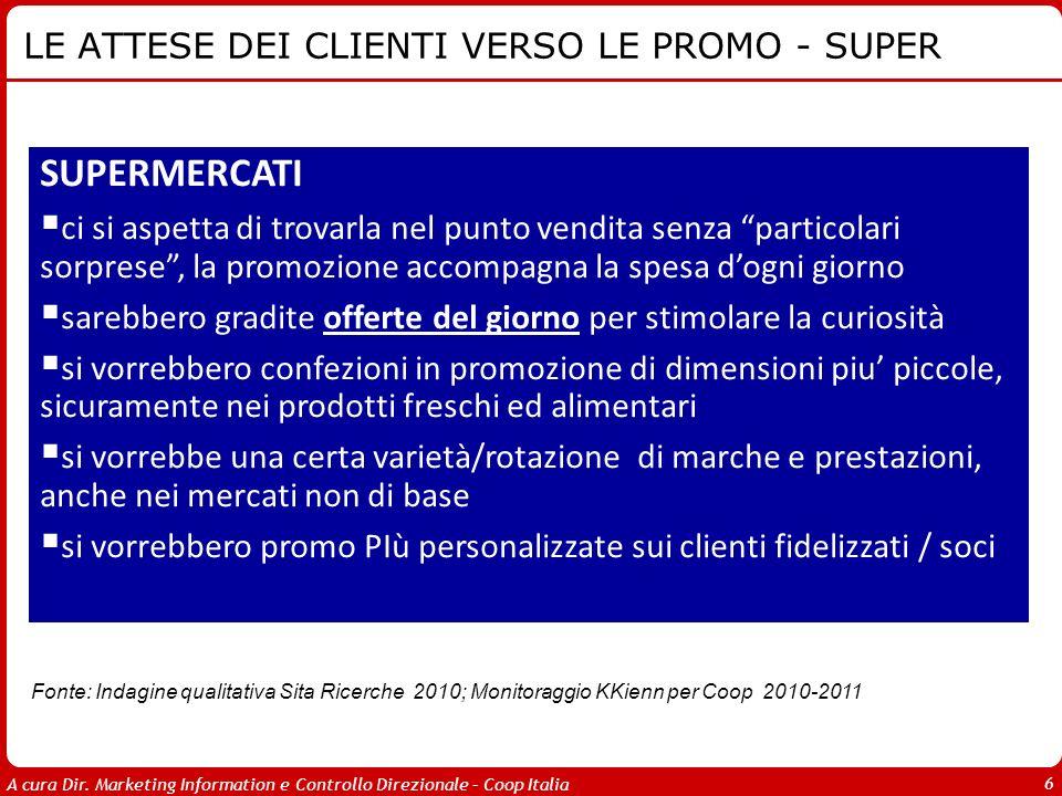 A cura Dir. Marketing Information e Controllo Direzionale – Coop Italia 6 LE ATTESE DEI CLIENTI VERSO LE PROMO - SUPER Fonte: Indagine qualitativa Sit