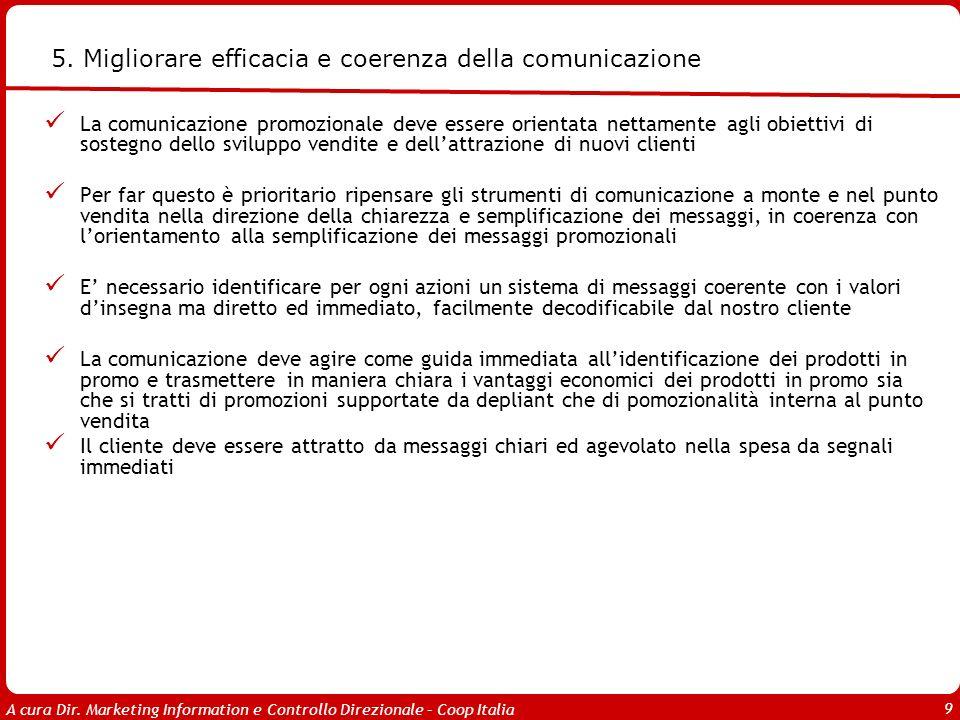 A cura Dir. Marketing Information e Controllo Direzionale – Coop Italia 9 5. Migliorare efficacia e coerenza della comunicazione La comunicazione prom