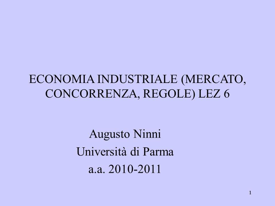 11 ECONOMIA INDUSTRIALE (MERCATO, CONCORRENZA, REGOLE) LEZ 6 Augusto Ninni Università di Parma a.a. 2010-2011