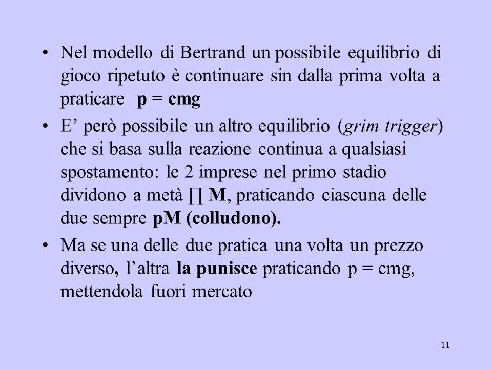 11 Nel modello di Bertrand un possibile equilibrio di gioco ripetuto è continuare sin dalla prima volta a praticare p = cmg E però possibile un altro