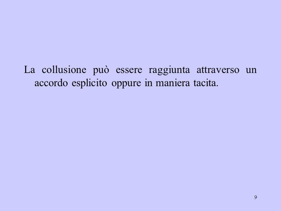 9 La collusione può essere raggiunta attraverso un accordo esplicito oppure in maniera tacita.