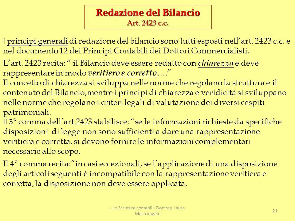Funzione del Bilancio Accertare periodicamente la situazione patrimoniale (aspetto storico) e la Redditività (aspetto dinamico) della società. Il Bila