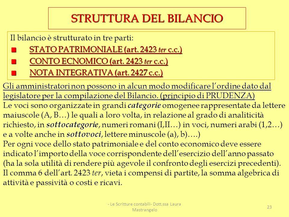 Altri principi di redazione sono elencati nellart. 2423 bis, dove viene stabilito che bisogna seguire ulteriori criteri quale ad esempio, il principio