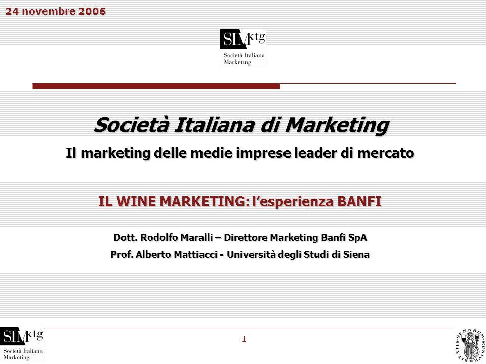 24 novembre 2006 1 Società Italiana di Marketing Il marketing delle medie imprese leader di mercato IL WINE MARKETING: lesperienza BANFI Dott. Rodolfo