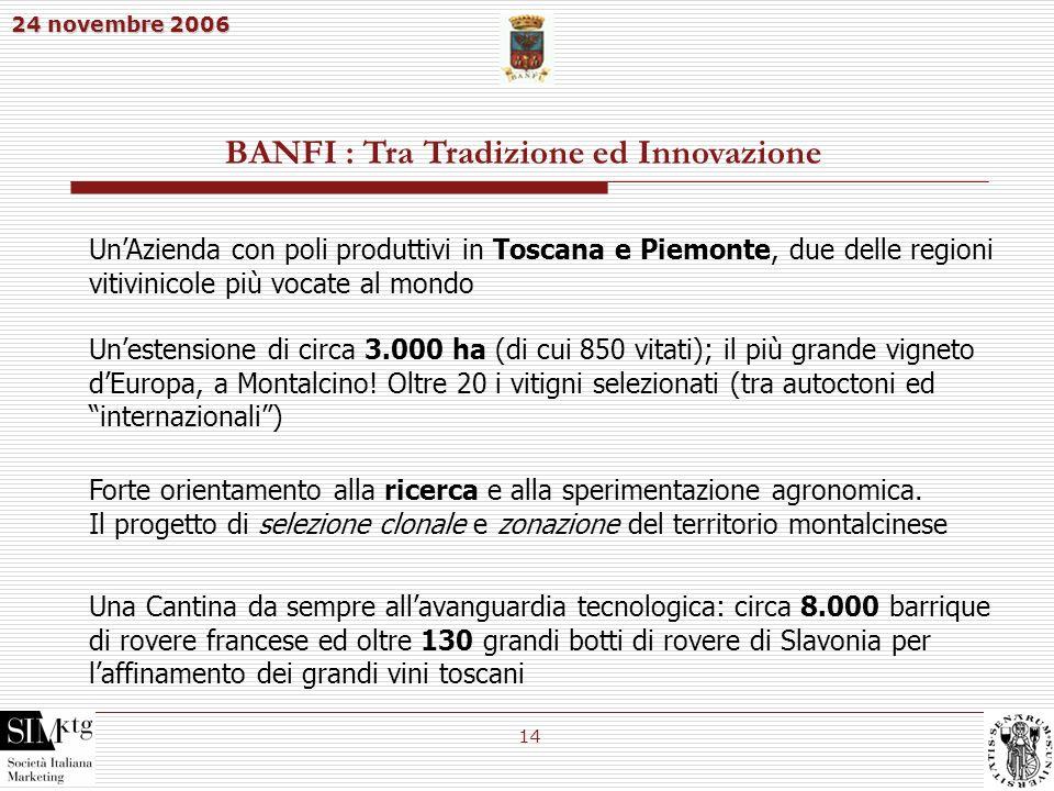 24 novembre 2006 14 BANFI : Tra Tradizione ed Innovazione Una Cantina da sempre allavanguardia tecnologica: circa 8.000 barrique di rovere francese ed