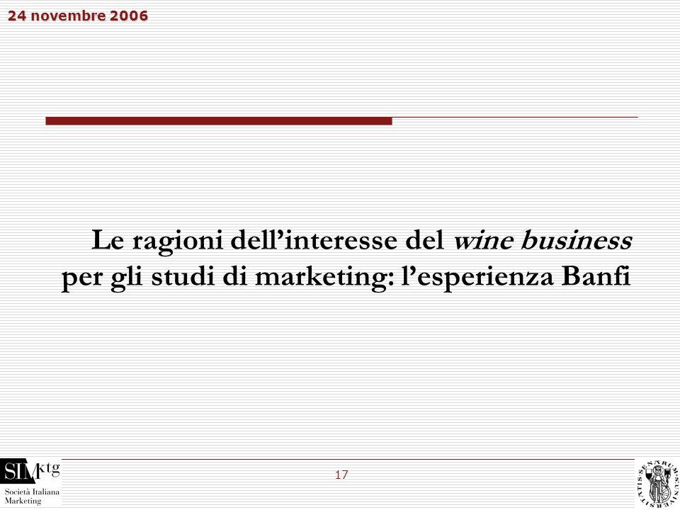 24 novembre 2006 17 Le ragioni dellinteresse del wine business per gli studi di marketing: lesperienza Banfi