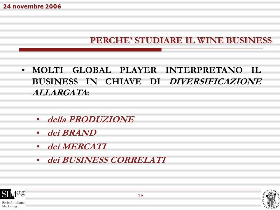 24 novembre 2006 18 MOLTI GLOBAL PLAYER INTERPRETANO IL BUSINESS IN CHIAVE DI DIVERSIFICAZIONE ALLARGATA: della PRODUZIONE dei BRAND dei MERCATI dei B