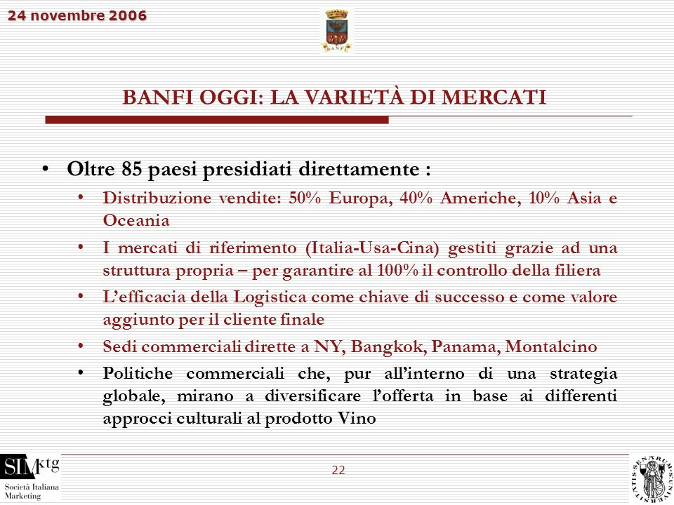 24 novembre 2006 22 BANFI OGGI: LA VARIETÀ DI MERCATI Oltre 85 paesi presidiati direttamente : Distribuzione vendite: 50% Europa, 40% Americhe, 10% As