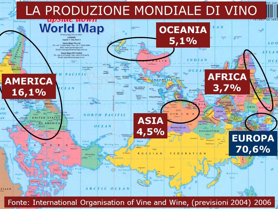24 novembre 2006 3 Dal vino al wine business LA PRODUZIONE MONDIALE DI VINO EUROPA 70,6% AMERICA 16,1% OCEANIA 5,1% ASIA 4,5% AFRICA 3,7% Fonte: Inter